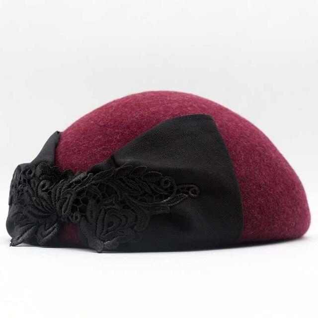8b4ecaf19 Fibonacci 2018 New Brand Quality Elegant Women Beret Fedora Wool Felt Hat  Lace Bow Autumn Winter Cap Dinner Party Hats