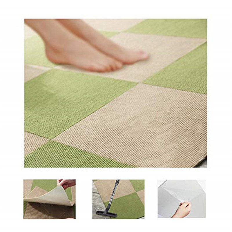 Non-slip Adhesive Carpet 28x28cm Square Stitching Floor Mat Simple Home Glue-free Self-adhesive Carpet Stairs Step Mat