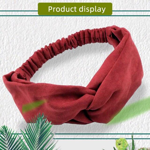 Gift Ear studs Woman Knotted Turban Hair Accessories for Girls Turban Elastic Hairband Head Wrap Striped  Hair Scrunchies W276 2