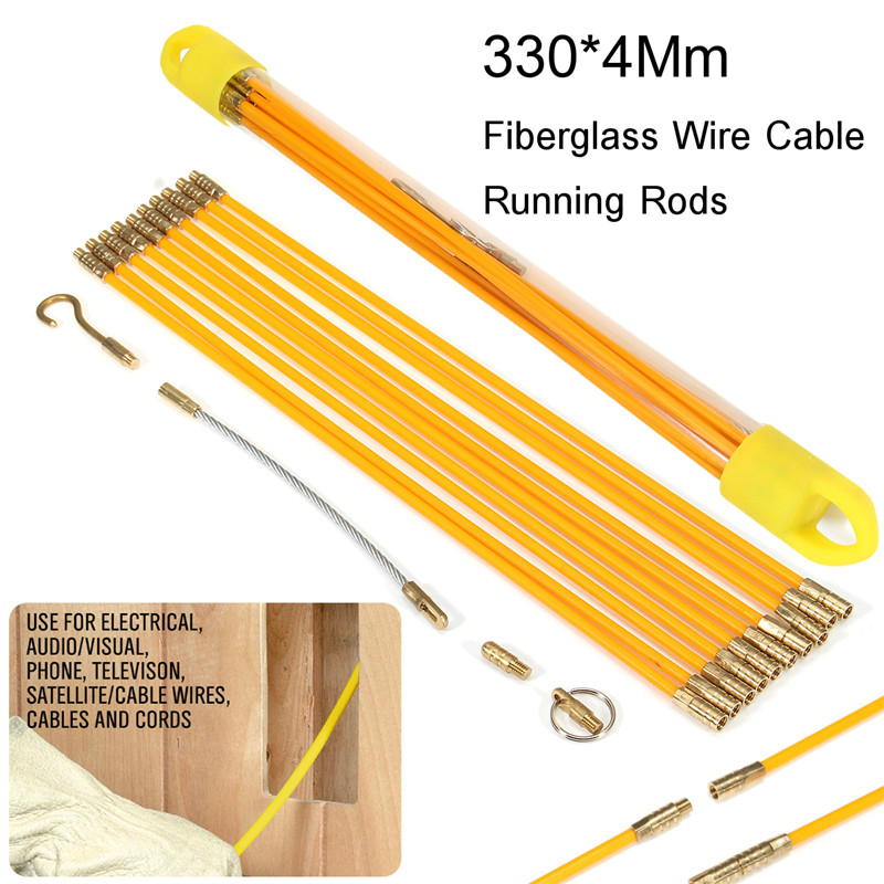 10pcs/set 33cm Diameter 4mm Fiberglass Wire Cable Running Rods Wires Fish Pulling Wire Holder Kit Electrical Extension Cord 100pcs 6n 4 round cable wire strain relief bush grommet 14mm diameter black