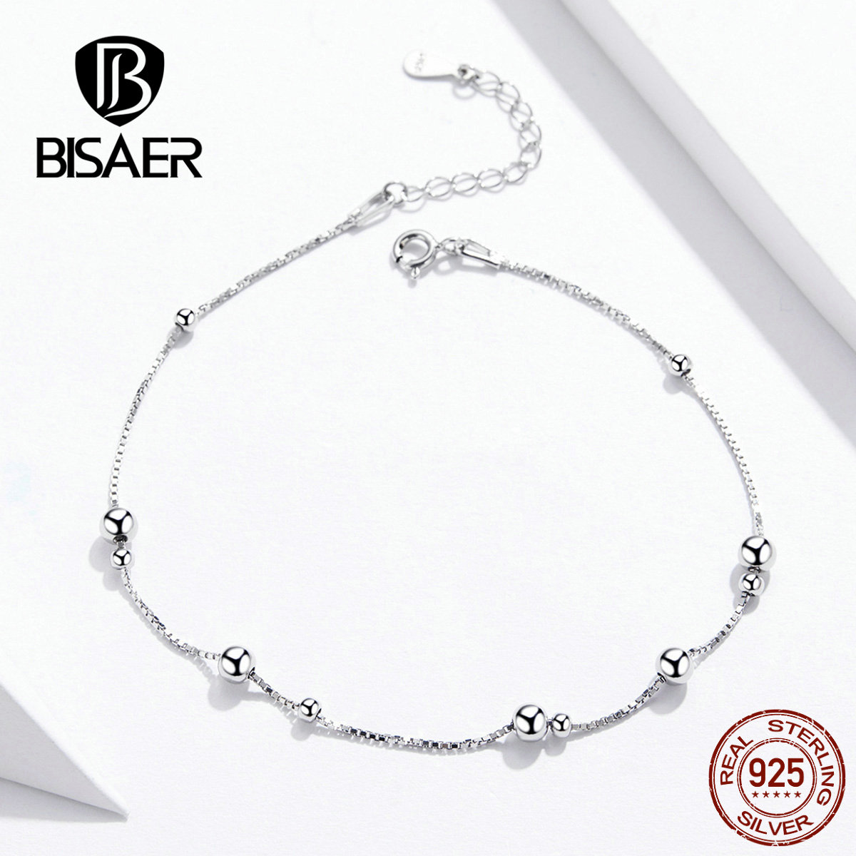 Bisaer 100% 925 Sterling Silver Anklet Round Ball Pendants Simple Design Summer Jewelry Fashion Style Anklets For Women GXT005