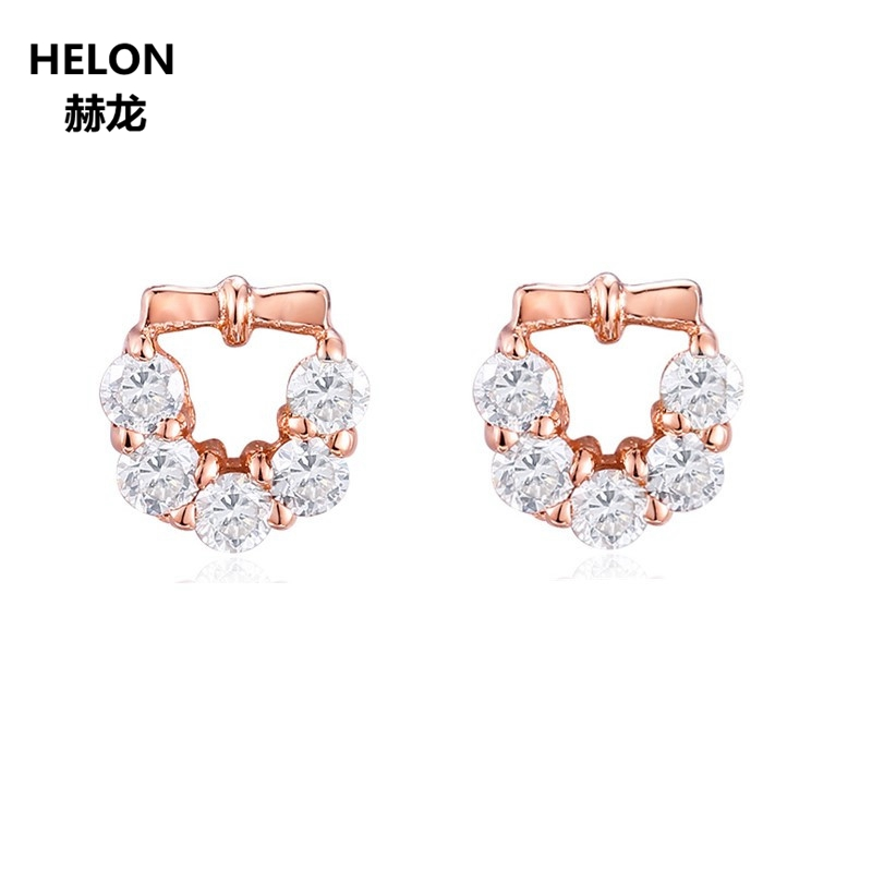 SOLID 14K ROSE GOLD NATURAL TOPAZ STUD EARRINGS FOR WOMEN PARTY ENGAGEMENT WEDDING FINE JEWELRY EARRINGS TRENDY pair of trendy filigree rose gold rhinestone leaf fringe earrings for women