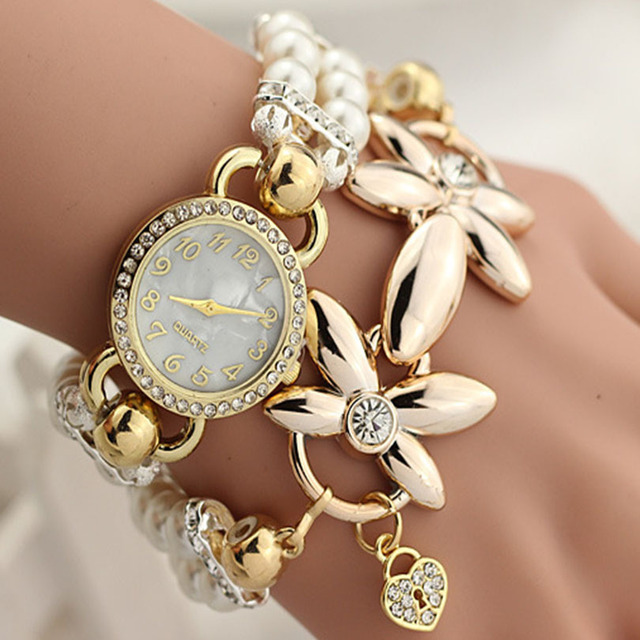 Luxury Flower Golden Watches