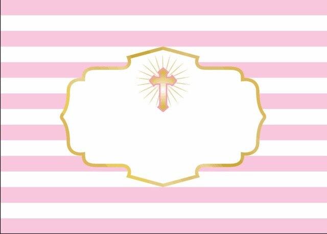 7x5ft Light Pink Strips Gold Crown God Bless Cross Christening