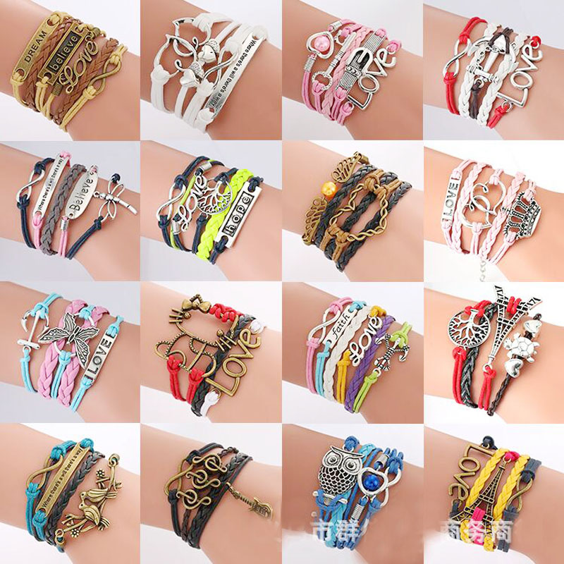 (10pcs/lot) 19 Style 2018 New Handmade Wristband Braided Wax Cords Love Owl Hungry Games Leather Charms bracelets
