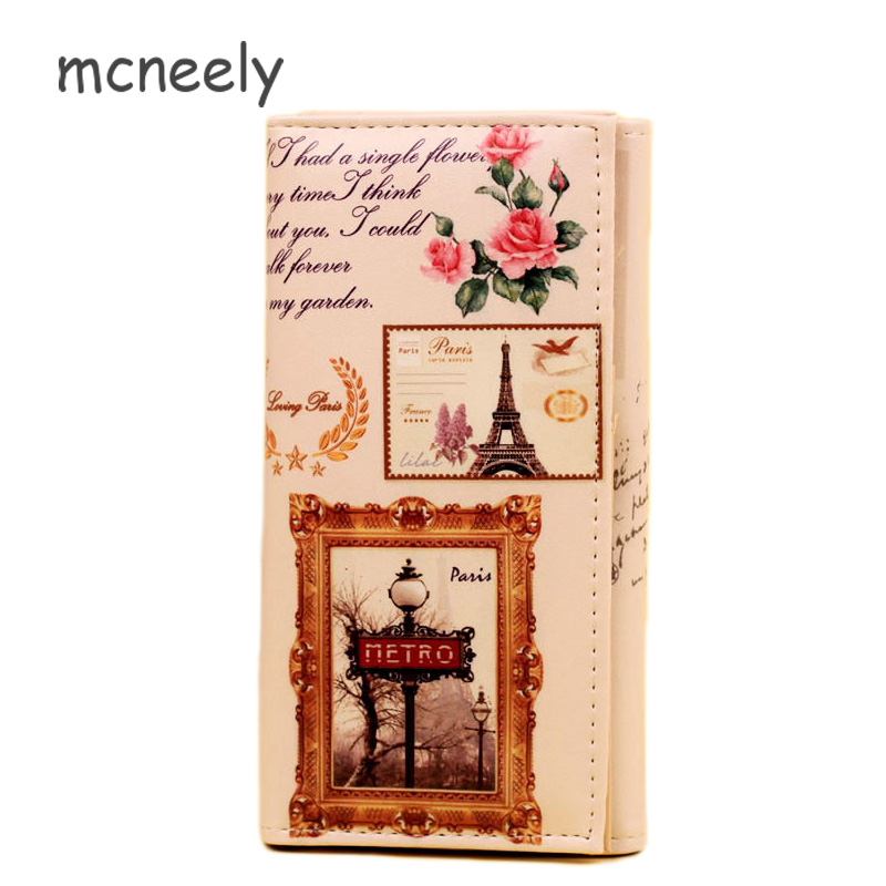 New Arrival Clutch Wallet Long Women Wallets Hasp Purse Paris Tower Style Wallets Trendy Coin Purse Card Holder Leather