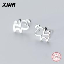 XIHA Genuine 925 Sterling Silver Stud Earrings Hollow Out Animal Dog Earring for Women Girl Earings Fashion Jewelry 2018