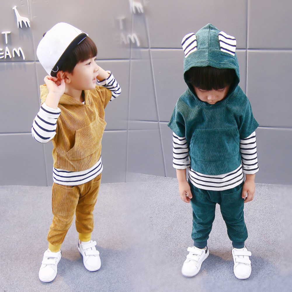 3Pcs Fashion Baby Stripe Set Long-sleeved Corduroy Sweats Children Suit Toddler Sweater Outfits of Autumn Style for 1-3 Years