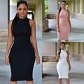Новая Коллекция Весна Лето Мода Водолазка Без Рукавов Элегантный Карандаш Dress Женщин Сексуальный Клуб Коктейль Bodycon Повязки Dress