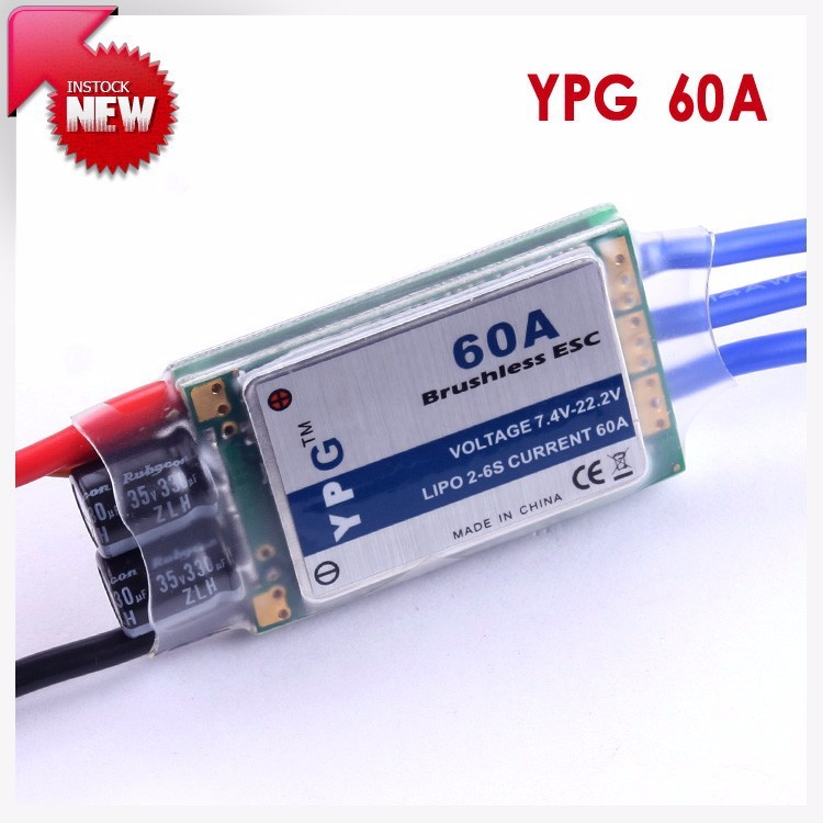 YPG 60A ESC Brushless Speed Controller 2~6S SBEC For RC Helicopter Airplane 30a esc welding plug brushless electric speed control 4v 16v voltage