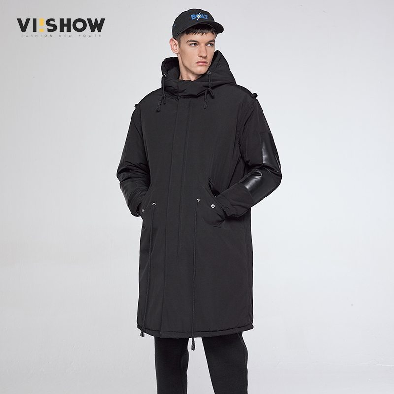 VIISHOW 2017 New Clothing Jackets Business Long Thick Winter Coat Men Solid Parka Fashion Overcoat Black Color Outerwear MC36764 zeeshant new clothing jackets business long thick winter coat men solid parka fashion overcoat outerwear in men s parkas xxxl