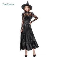 купить Halloween Gothic Adult Women Witch Cosplay Costume Black Party Dress+Hat Witch Carnival Stage Show Costume дешево