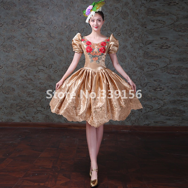 Christmas Vintage Printed Gold Short Gowns Masquerade Dresses Stage Theater Ball Gowns