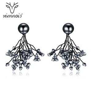 Женские Висячие серьги Viennois, черные серьги с австрийскими кристаллами, ювелирные украшения для свадебной вечеринки