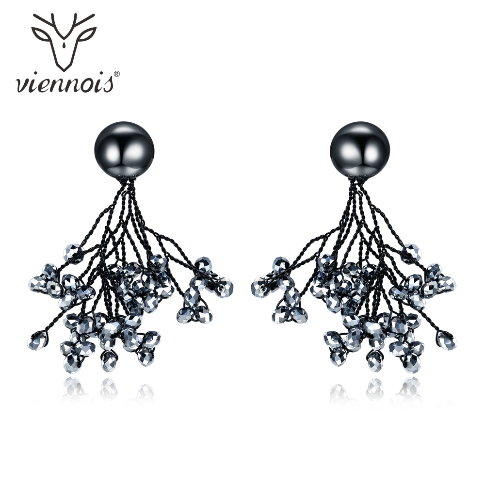 Viennois Dangle Earrings for Women Black Color Austrian Crystal Drop Earrings Female Wedding Party Jewelry sunny jewelry fashion jewelry 2018 long drop dangle earrings for women exquisite jewelry zircon cocktail for wedding party daily