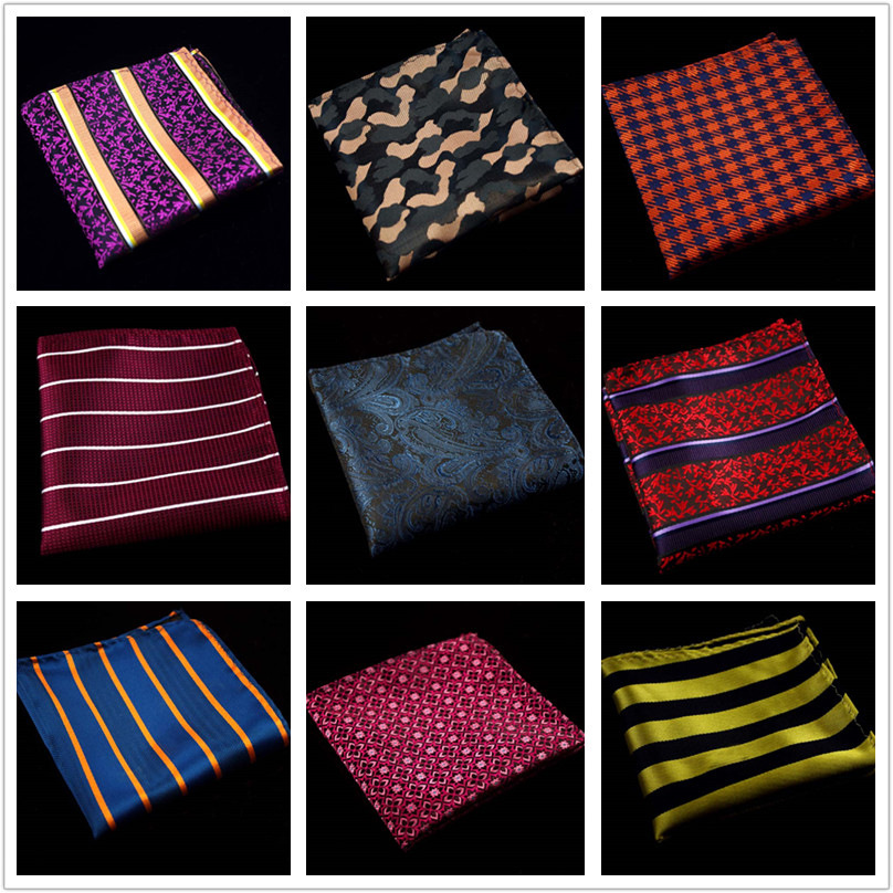60 Colors Fashion Silk Pocket Squares Men Paisley Square Pocket Handkerchief Silk Paisley Men Wedding Square Pocket 22*22cm