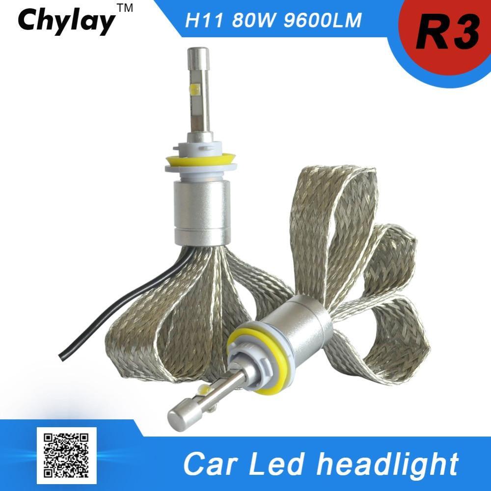 one pair H11 LED Car Headlight bulb R3 9600lm 6000K White light H8 H9 LED Auto