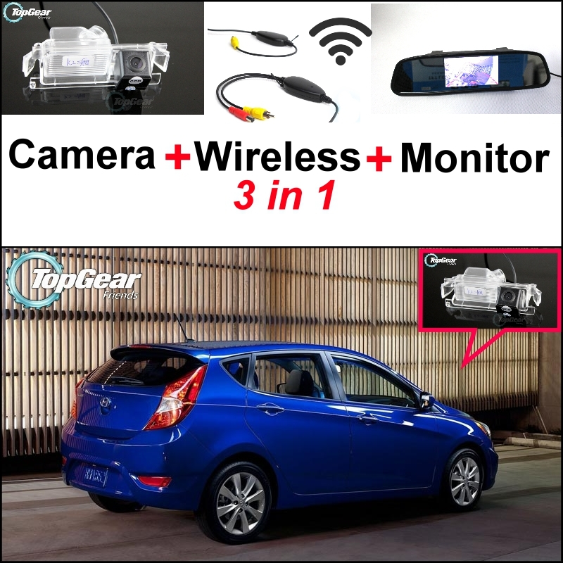 3 in1 Special Camera + Wireless Receiver + Mirror Monitor Parking System For Hyundai Solaris Fluidic Verna Grand Avega Hatchback wireless pager system 433 92mhz wireless restaurant table buzzer with monitor and watch receiver 3 display 42 call button