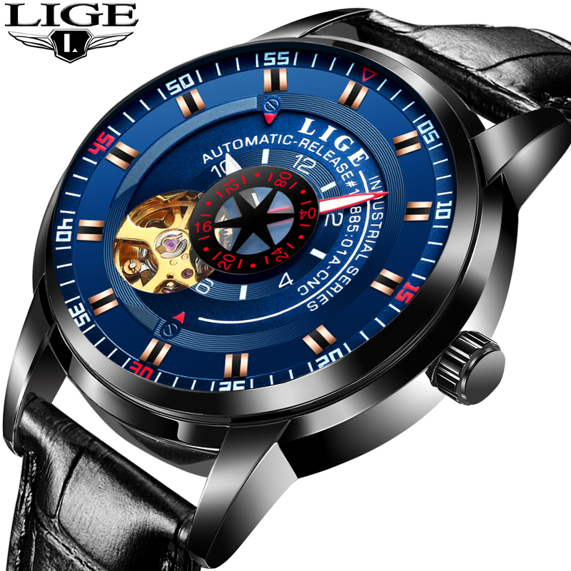 New Mens Watches LIGE Top Brand Luxury Men Fashion Business Watch Men's Automatic Mechanical Watch Waterproof Leather Clock+Box lige mens watches top brand luxury fashion business casual watch men stainless steel waterproof automatic mechanical watch box