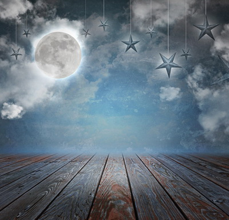 HUAYI 8x8ft photographie toile de fond fond pour Studio Photo nouveau-né Photo accessoires Art tissu nuit lune décors Xt-2909