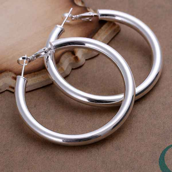Free shipping lowest price wholesale for women's silver plated earrings 925 fashion Silver jewelry hollow hoop Earrings SE149