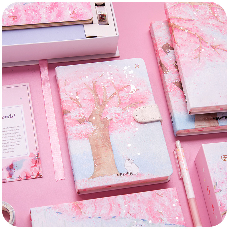 A5 Japanese Creative Sakura Stationery Gift For Girls Cute Colorful Pages Hardcover Diary Notebook Notepad Bullet Journal