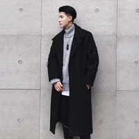 2017New Fashion Trend Youth Style Small Fresh Pure Color Casual Section Of The Original Korean Version Of The Long Wool Coat Men