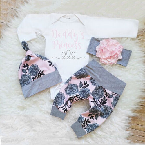Top Romper + Long Pants + Hat Outfits Clothes 0-24M On Stock Daddy's Princess 3PCS Infant Newborn Baby Girls Clothing Suit