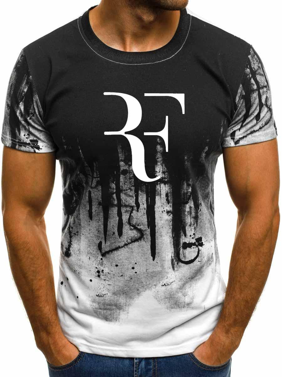 Summer RF Roger Federer Men T Shirt Fashion Casual Cotton Short Sleeve Harajuku Hiphop Gradient T-shirt Tops Tees Brand Clothes
