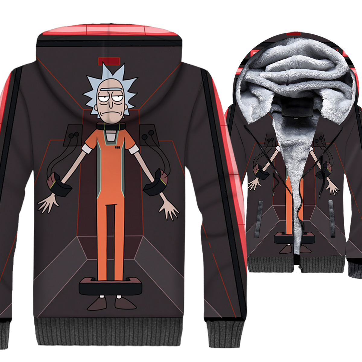2019 new streetwear brand tracksuits winter hot sale 3D Printing man jackets casual wool liner coats Anime rick and morty hoodie in Hoodies amp Sweatshirts from Men 39 s Clothing