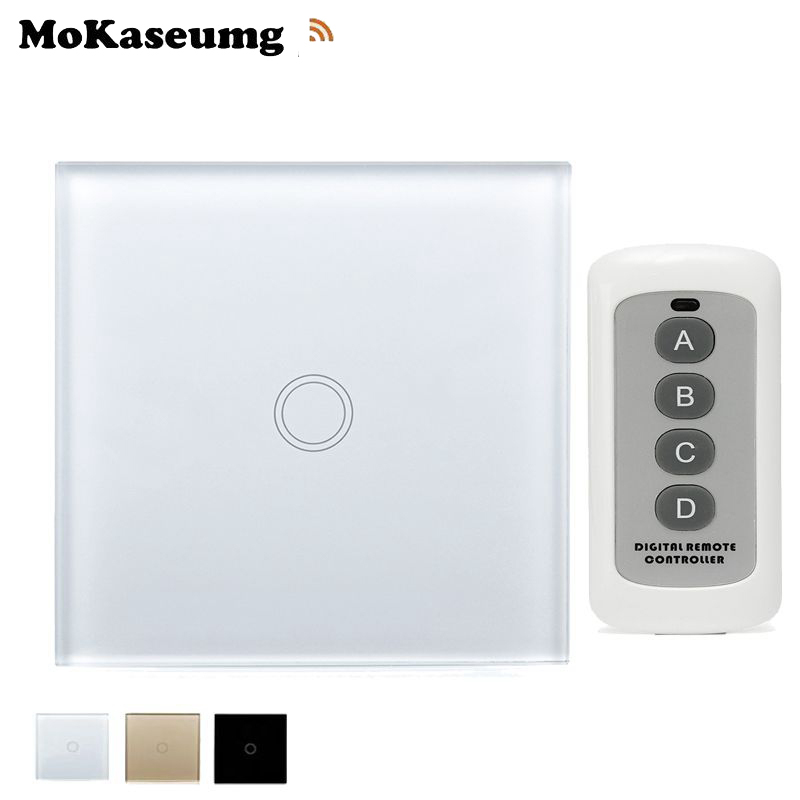 Smart Switch EU Remote Touch Switch 1 gang 1 way 220V RF 433Mhz Crystal Glass Panel Wall Light Touch Switch Automation Module newest 1 way 1 gang crystal glass panel smart touch light wall switch remote controller gold ac110v 240v low price