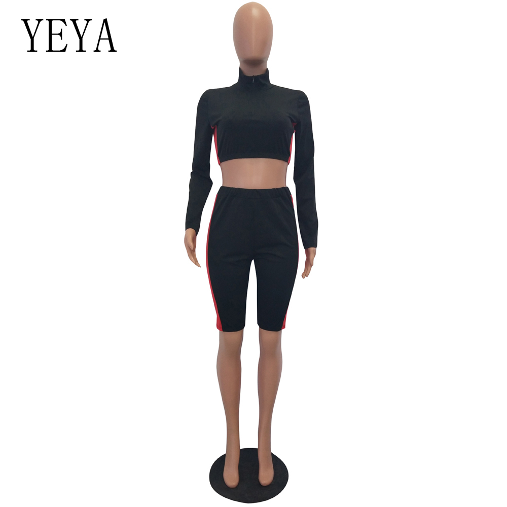YEYA Two Piece Set Rompers Womens Jumpsuit Long Sleeve Zipper Color Block Bodycon Playsuit Casual Overalls Summer Sexy Bodysuits 3