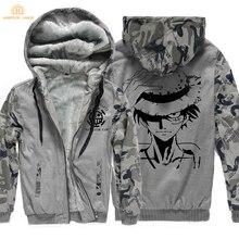 2019 Winter One piece Monkey D Luffy Fashion Jackets Men Thicken Mens Sweatshirts Zipper Hoodies Brand Tracksuit