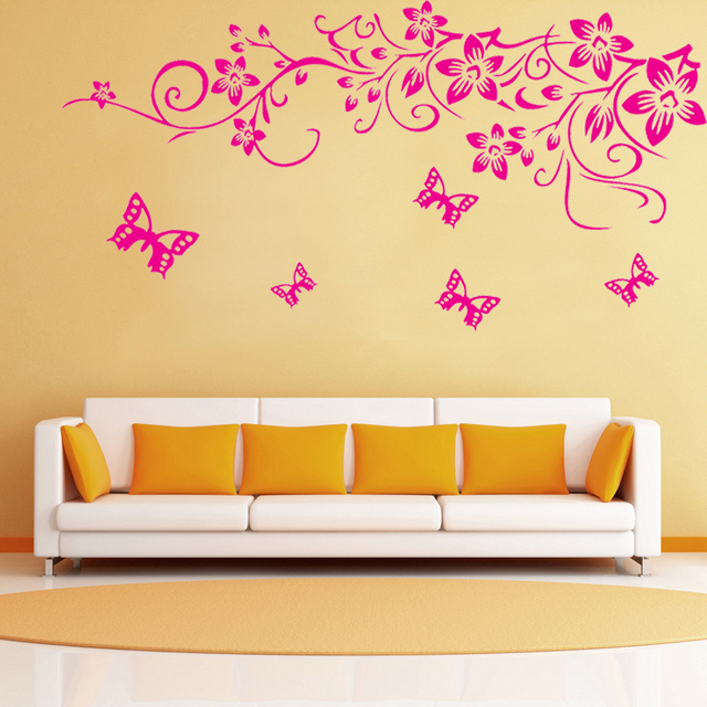 Hot Pink Flowers Vine Butterfly Wall Stickers Tv Background Living ...