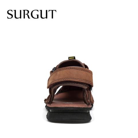 SURGUT Brand Classic Men Genuine Leather Soft Sandals Comfortable Sandals High-Quality Men Roman Summer Men Shoes Size 38~45 Karachi