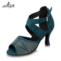 Rhinestone Dark Green Black Flannel High heels 10cm Latin   dance     shoes   Women's Salsa Ballroom dancing Performance   shoes