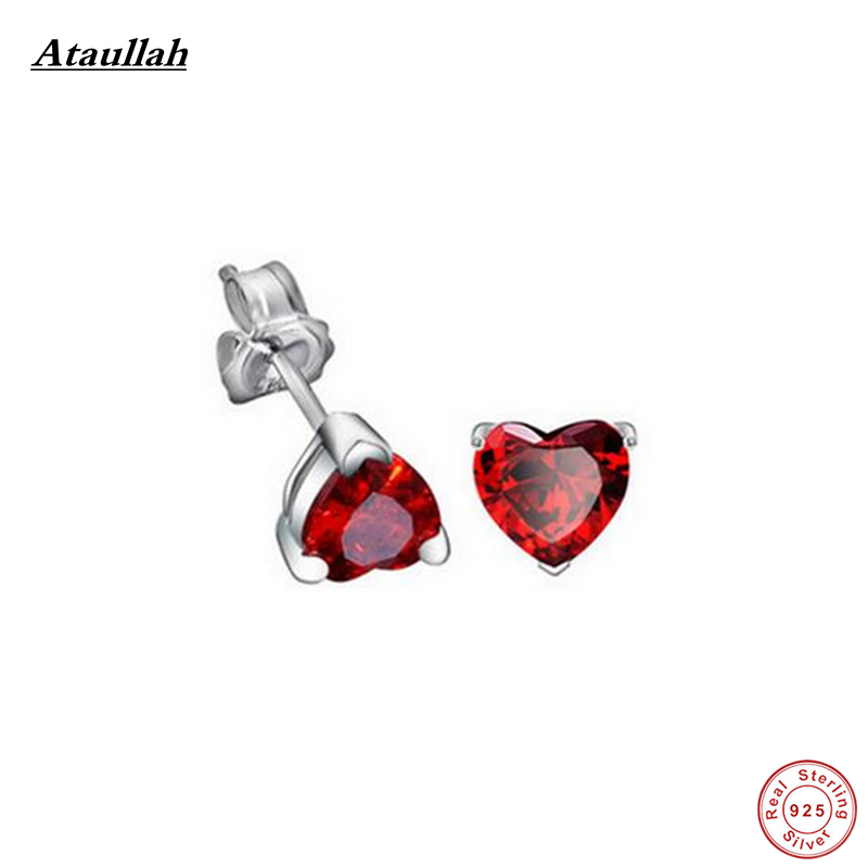 Ataullah Trendy Red Trendy Garnet 100% Real 925 Sterling Silver Earrings for Women Jewelry Luxury Ruby Heart Stud Earring EWS409 trendy letter heart round rhinestone bracelet for women