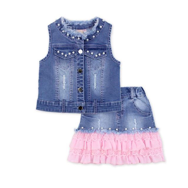 2016 fashion summer children clothing sets bead baby girl boutique outfits sleeveless jean jackets lace Denim skirts clothes