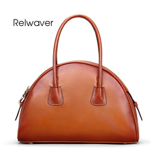 Relwaver genuine leather handbag womne leather handbags tote bag real cow leather calfskin semicircle vintage style women bag