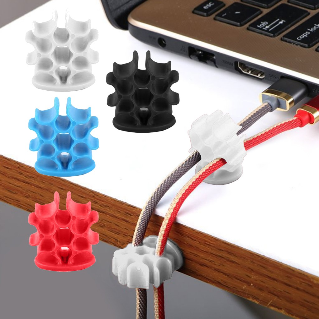 1 pcs USB Cable Organizer Wire Winder Desktop Management Headphone Earphone Holder Mouse Cord Silicone Clips
