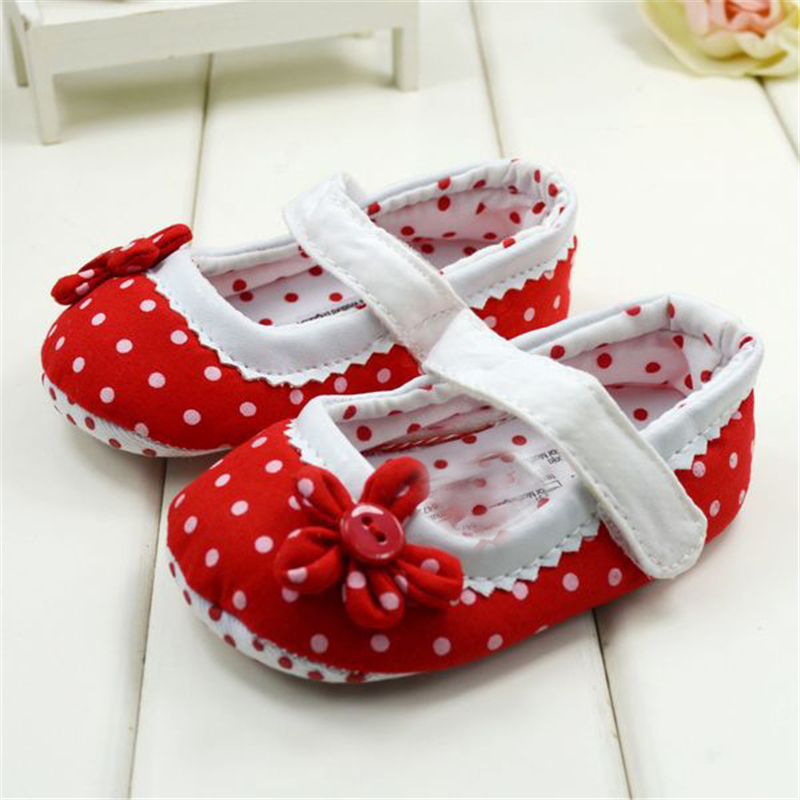 New Hot Sale Baby Girls Shoes With Flower Princess Dots Design Toddler First Walkers Shoes