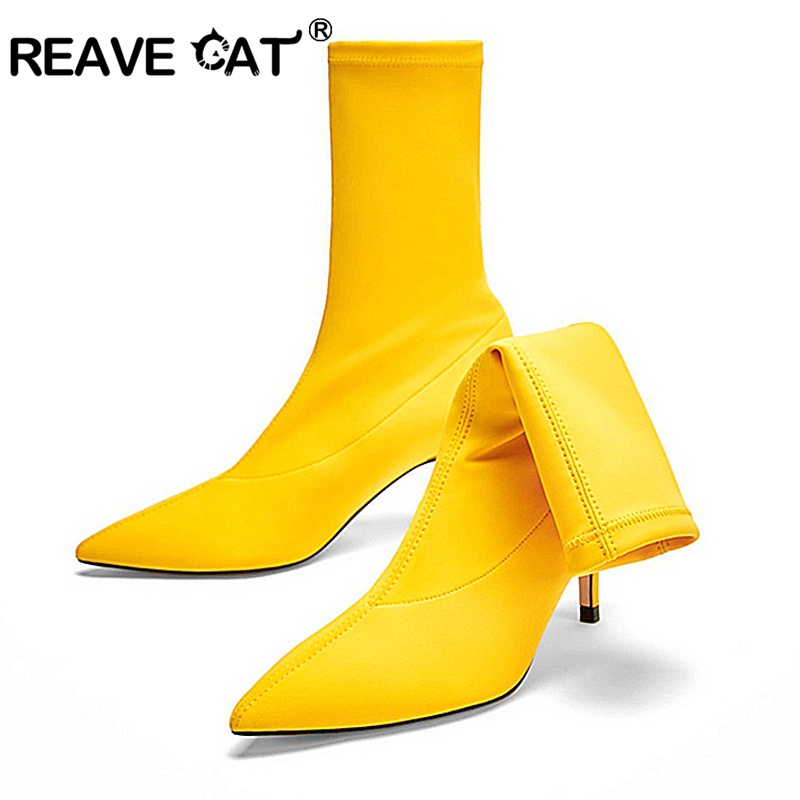 REAVE CAT Shoes Women Sock Boots Pointed Toe Elastic Boots Slip On High Heel mid calf