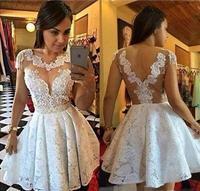 fa988566ba ... suknia balowa sukienki koktajlowe perły koronki robe de cocktail  aplikacje strona Sheer projekt M1156. 2016 Short Sleeves White Ball Gown  Cocktail ...