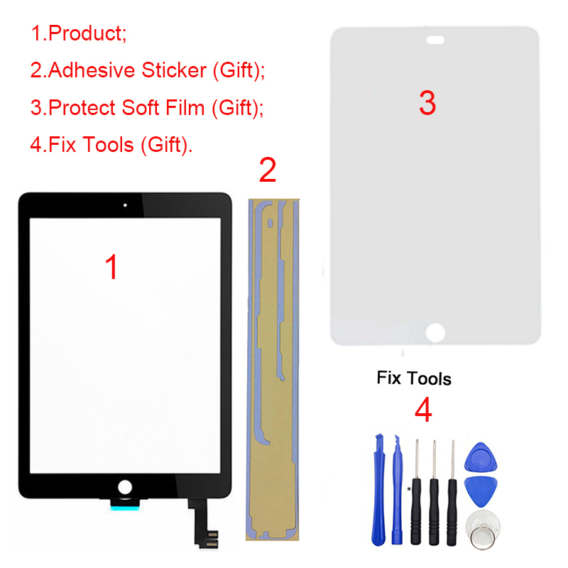 1Pcs For iPad Air 2 2nd Gen A1566 A1567 9.7 Touch Screen Digitizer LCD Outer Panel Front Glass Sensor Replacement 5pcs lcd display digitizer touch screen assembly for ipad air 2 2nd gen a1566 a1567 replacement dhl free