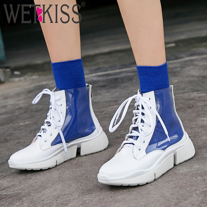 WETKISS PVC Women Ankle Boots Lace Up Round Toe Footwear Leather Flat Sole Platform Female Boot Fashion Casual Shoes Spring 2019WETKISS PVC Women Ankle Boots Lace Up Round Toe Footwear Leather Flat Sole Platform Female Boot Fashion Casual Shoes Spring 2019