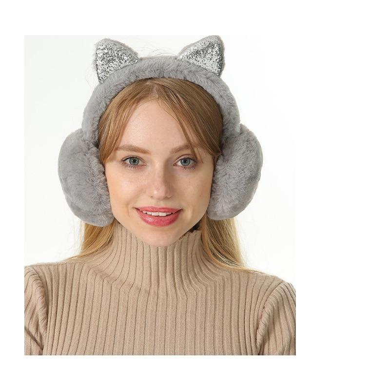 Womens Lovely Winter Headwear Earmuff With Ears Plain Foldable Cute Cat Shape Ear Protection Cover Soft Plush Ear Warmer Wrap Earlap