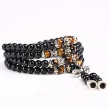 Black Color Tiger Eye Crystal Tibet Buddhist Buddha Meditation 108 Prayer Bead Mala Bracelet Necklace