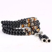 Black Color Tiger Eye Crystal Tibet Buddhist Buddha Meditation 108 Prayer Bead Mala Bracelet font b