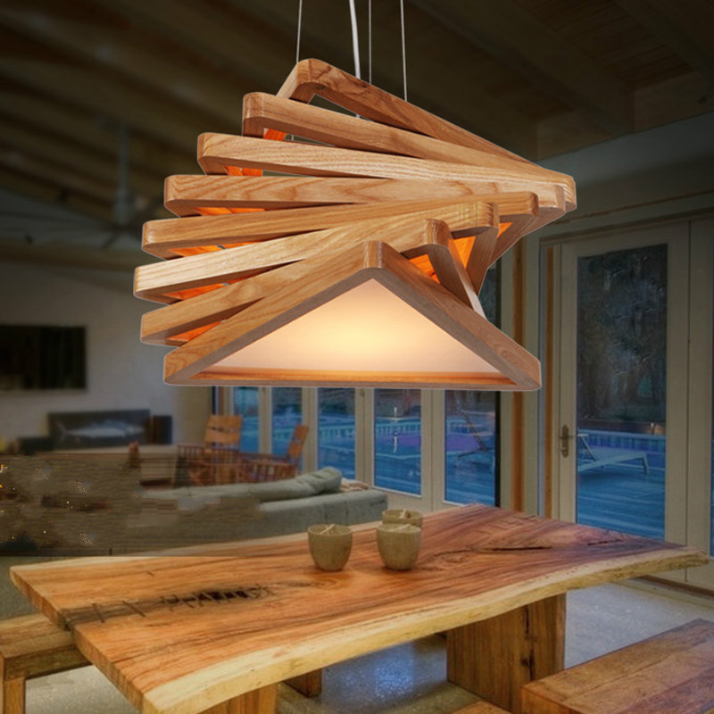 Novelty modern nature handmade wood pendant lights fixture nordic brief home deco dining room acrylic E27 LED bulb pendant lamp 2016 antique wrought iron pendant light e27 bulb 40w home deco lights dining lamp free shipping