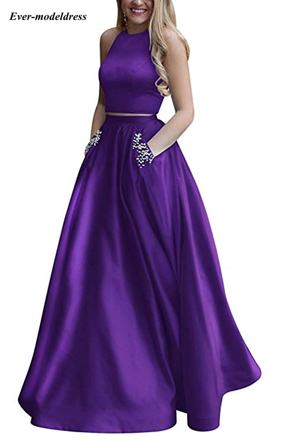 2019 Modest Two Pieces   Prom     Dresses   with Pockets Jewel Open Back Crystals A Line Long Satin Evening Party Gowns Robe De Soiree